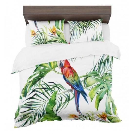 Exotické posteľné obliečky s motívom papgája a zelene