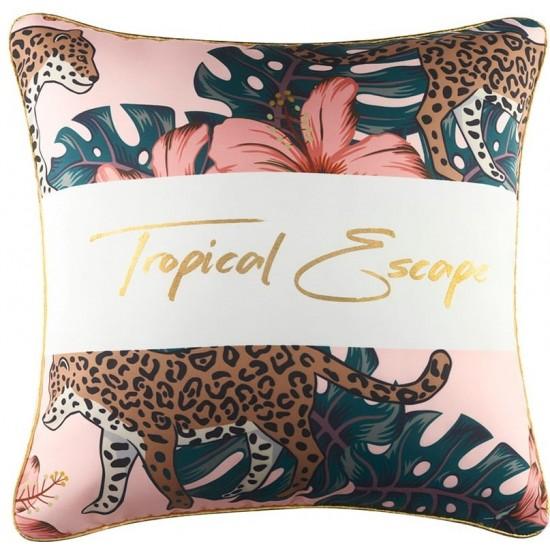 Zamatová ružová obliečka na vankúš s exotickým motívom
