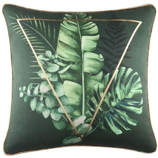 Zamatová zelená obliečka na vankúš s palmovými listami