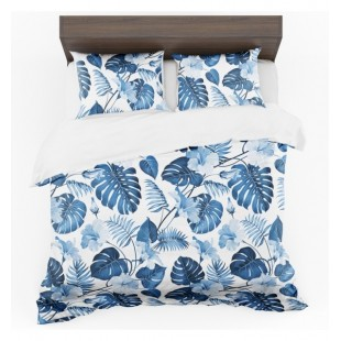 Modro biele posteľné obliečky so vzorom palmových listov