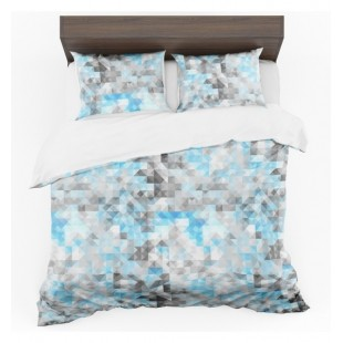Sivo modré posteľné obliečky s 3D štvorcovým vzorom