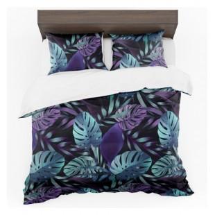 Tyrkysovo fialovo čierna posteľná obliečka s motívom palmových listov