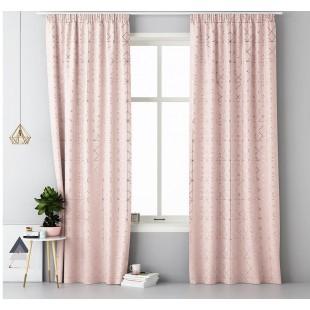 Púdrovo ružový záves na okno s elegantným zlatým vzorom