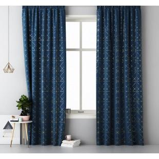 Tmavomodrý záves na okno s elegantným zlatým vzorom