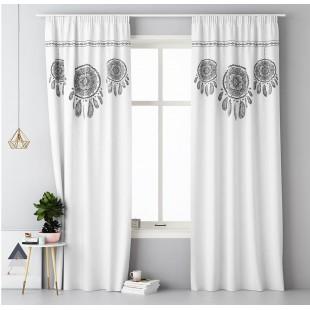 Biely záves na okno s riasiacou páskou so vzorom lapača snov