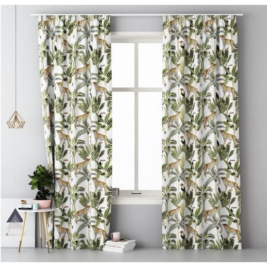 Záves na okno s riasiacou páskou a exotickým vzorom MAGIC FOREST