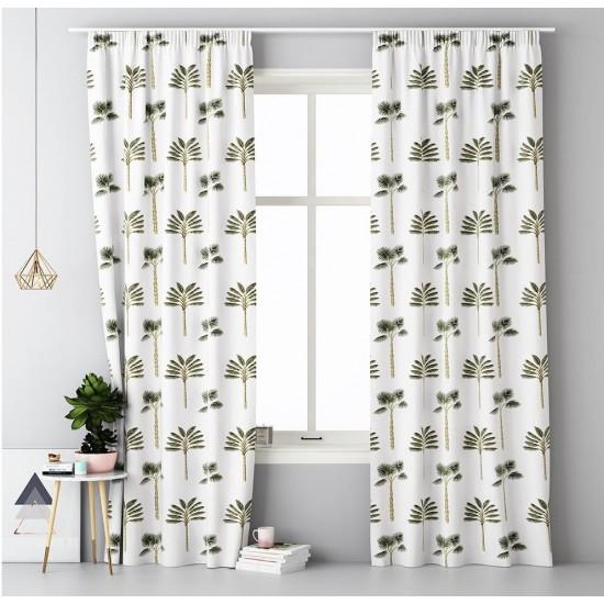 Biely záves na okno s riasiacou páskou a palmovým vzorom