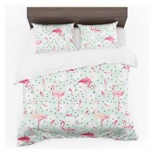 Mätovo ružovo biele posteľné obliečky vzor pelikán