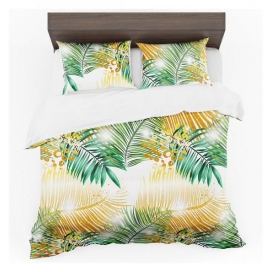 Žlto zeleno biele posteľné obliečky s exotickým vzorom palmových listov