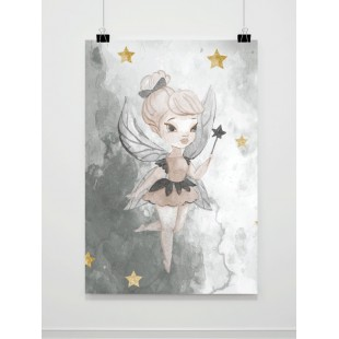 Sivý detský plagát A4 s vílou