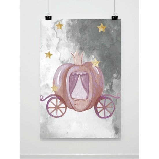 Sivý detský plagát A4 s kráľovským kočom