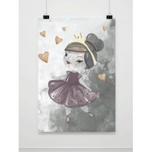 Sivý detský maľovaný plagát s princeznou