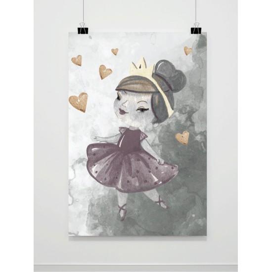 Sivý detský maľovaný plagát A4 s princeznou