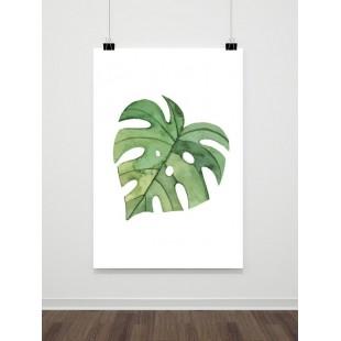 Maľovaný plagát so zeleným palmovým listom