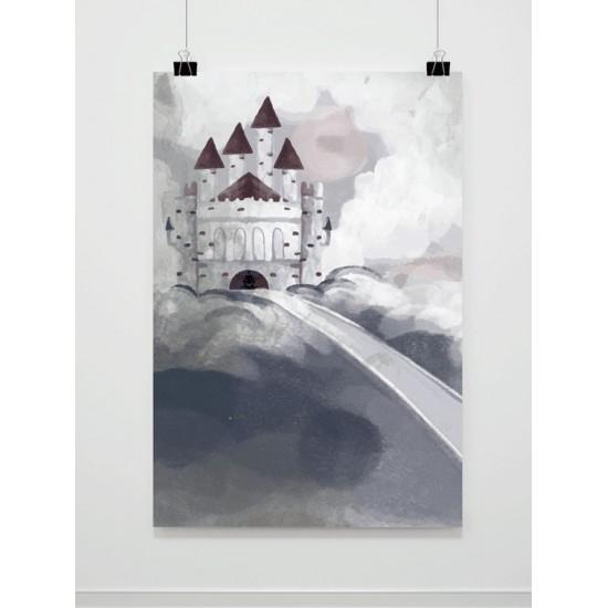 Maľovaný sivý detský plagát s hradom