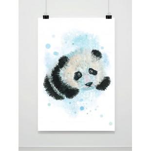 Akvarelový detský plagát s pandou