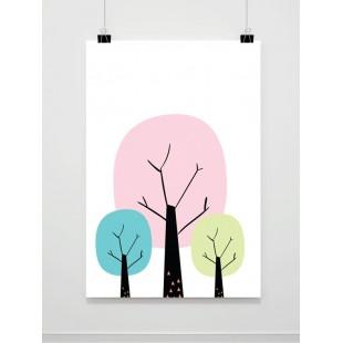 Detský maľovaný plagát s lesom