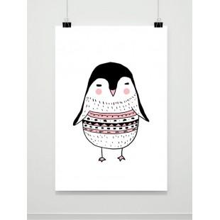 Detský maľovaný plagát s tučniačikom