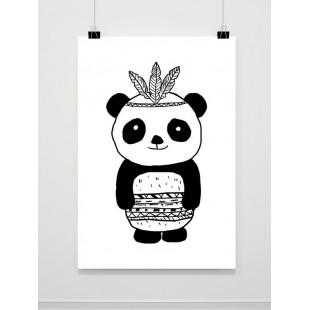 Čiernobiely detský plagát s pandou