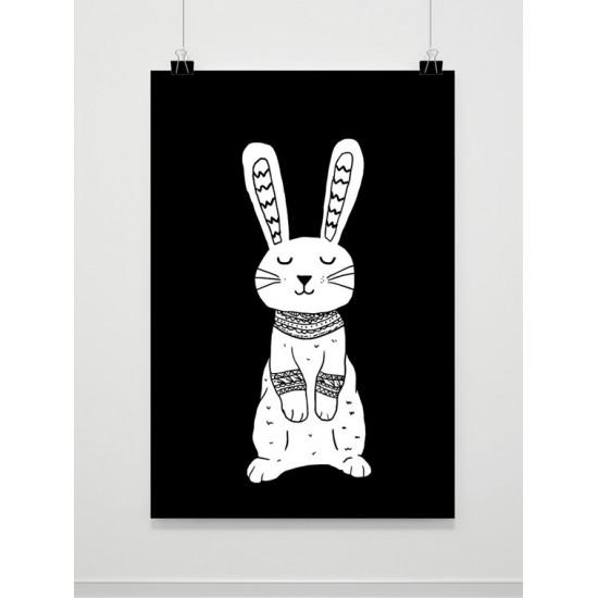 Čiernobiely detský plagát s králikom