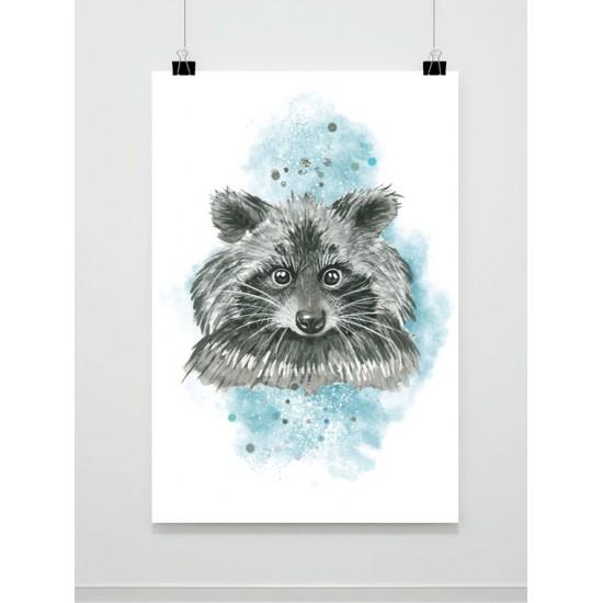 Akvarelový maľovaný plagát s medvedíkom čistotným