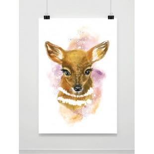 Akvarelový maľovaný plagát so srnkou