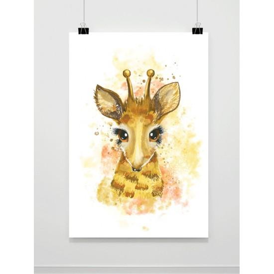 Akvarelový maľovaný plagát so žirafou