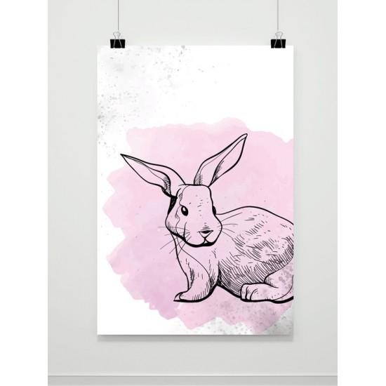 Ružovo biely plagát so zajačikom