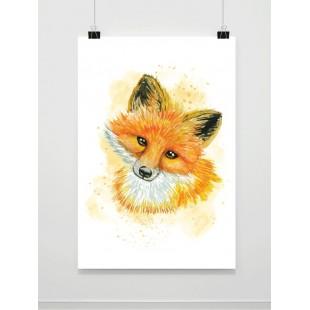 Akvarelový maľovaný plagát s líškou