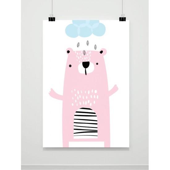 Detský plagát na stenu s motívom medveďa v daždi