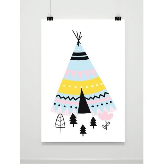 Detský plagát na stenu s motívom indiánskeho stanu