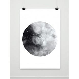 Biely plagát na stenu s motívom Mesiaca