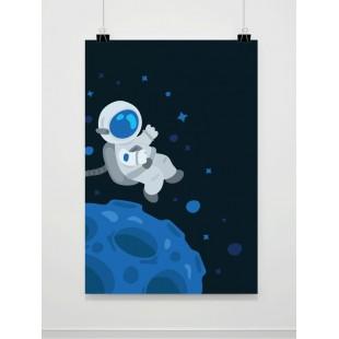 Modrý plagát na stenu s kozmonautom