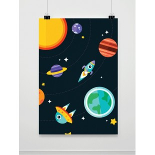 Detský plagát na stenu s motívom vesmíru