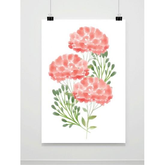 Plagát na stenu s motívom maľovaných kvetov