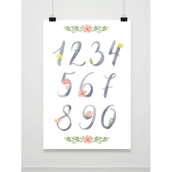 Plagát na stenu do detskej izby s motívom maľovaných číslic
