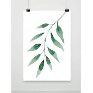 Biely plagát na stenu s motívom zelených listov