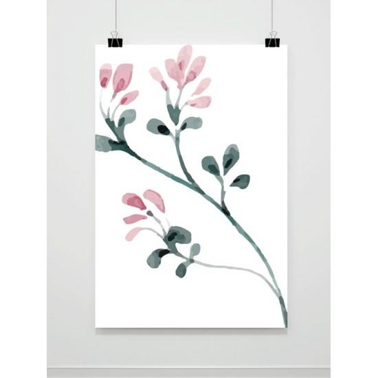 Biely plagát na stenu s motívom maľovaných kvetov