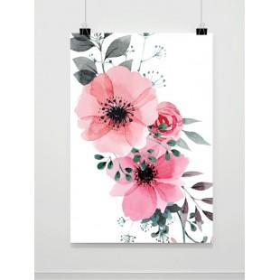 Biely plagát na stenu s motívom maľovaných rozkvitnutých kvetov