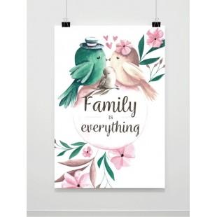 Plagát na stenu s motívom rodinky vtáčikov