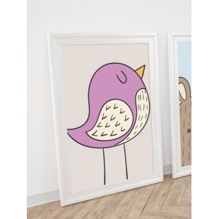Detský plagát na stenu s fialovým vtáčikom