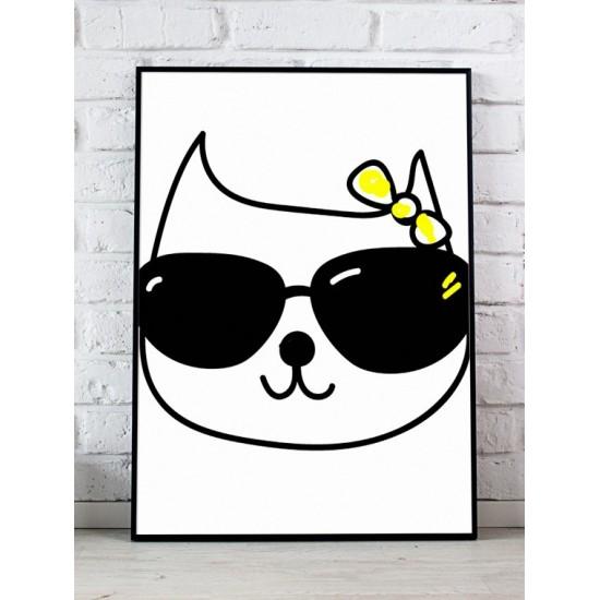 Čiernobiely detský plagát s motívom mačičky s okuliarmi