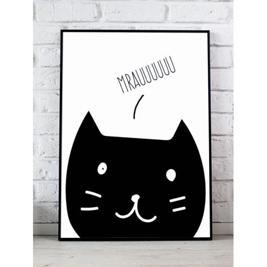 Biely detský plagát s čiernou mačkou