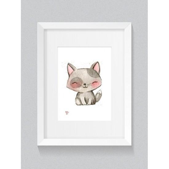Detský plagát s motívom maľovanej mačičky