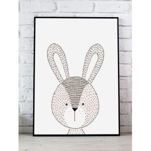Biely detský plagát s králičkom