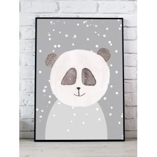 Sivý detský plagát so zimným motívom pandy