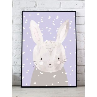 Sivý detský plagát so zimným motívom zajačika