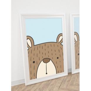 Modrý plagát na stenu do detskej izby s motívom medveďa