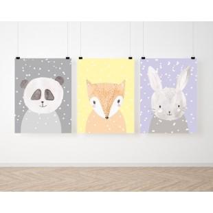 Sada 3 detských plagátov so zvieratkami v zimnom motíve