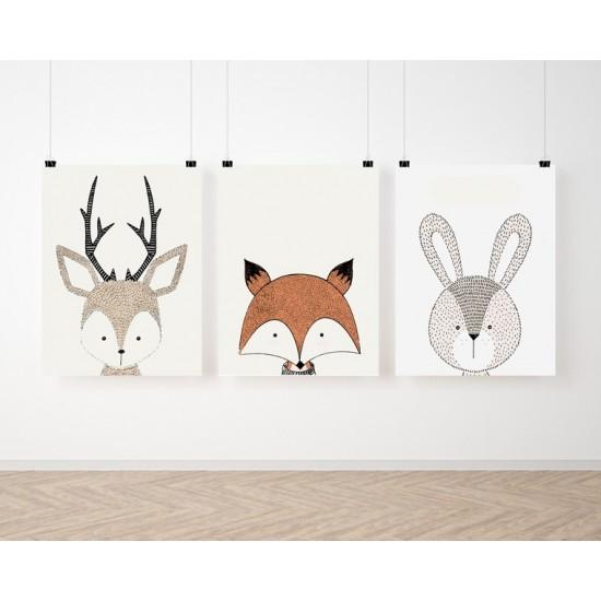 Sada 3 detských plagátov so zvieratkami z kolekcie ZOO